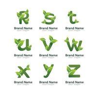modèle de conception de logo de pack de lettre alphabet vert vecteur