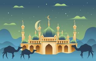 fond de mosquée eid al adha vecteur