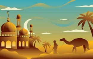 mosquée eid al adha dans le désert vecteur
