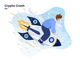 illustration de chute de crypto-monnaie. crash de fusée bitcoin, effondrement du prix de la crypto. le prix de la volatilité de la crypto-monnaie rugit rapidement et tombe, causant une perte énorme aux investisseurs vecteur
