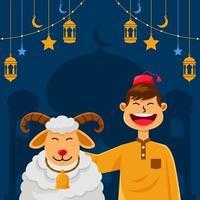 mouton heureux et musulman souriant célébrant l'aïd adha vecteur