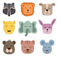 mignons visages d'animaux vectoriels parfaits pour créer des motifs pour la chambre des enfants vecteur
