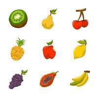 pack d'icônes fruits d'été tropical vecteur