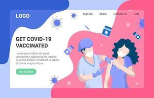 obtenir la page de destination vaccinée covid 19 vecteur
