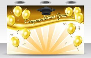 toile de fond de remise des diplômes avec des ballons dorés vecteur