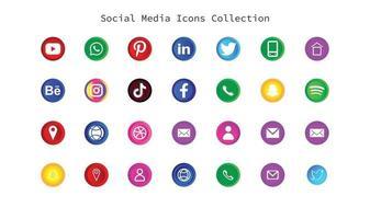logos et icônes de médias sociaux type 3d vecteur