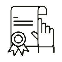 certificat cliquez sur l'icône de style de ligne elearning éducation et développement en ligne succès vecteur
