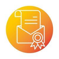 certificat e-mail éducation et développement en ligne icône de style dégradé elearning vecteur