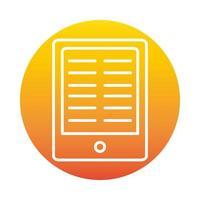 tablette leçon devoirs en ligne éducation et développement elearning icône de style dégradé vecteur