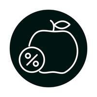 pomme avec bloc d'étiquette de pourcentage de vente et conception de vecteur d'icône de style de ligne