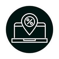 ordinateur portable avec bloc de marque de pourcentage de vente et conception de vecteur d'icône de style de ligne