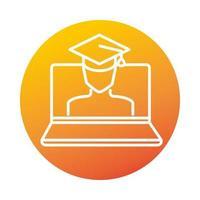 chapeau de graduation étudiant ordinateur portable éducation et développement en ligne icône de style dégradé elearning vecteur