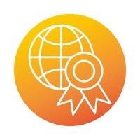 icône de style dégradé elearning éducation et développement en ligne prix médaille du monde vecteur