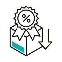 sceau de pourcentage de vente et conception de vecteur d'icône de style de ligne de boîte
