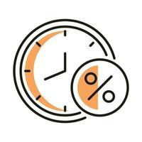 horloge avec étiquette de pourcentage de vente conception de vecteur d'icône de style de ligne