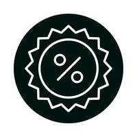 bloc de timbre de sceau de pourcentage de vente et conception de vecteur d'icône de style de ligne