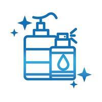 bouteille de pulvérisation de gel désinfectant pour l'hygiène des mains personnelle prévention des maladies et icône de style dégradé de soins de santé vecteur