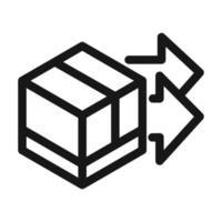 icône de style de ligne de boîte en carton logistique de service de fret de livraison vecteur