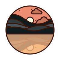 paysage nature coucher de soleil collines rivière réflexion scène ligne et icône de remplissage vecteur