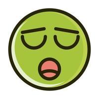 ligne d'expression de visage émoticône smiley drôle étouffé et icône de remplissage vecteur