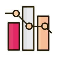 diagramme à barres de statistiques augmenter la ligne d'investissement financier d'entreprise et l'icône de remplissage vecteur