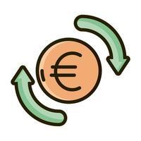 ligne d'investissement financier et icône de remplissage vecteur