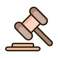 droit marteau justice affaires financières bourse ligne et icône de remplissage vecteur