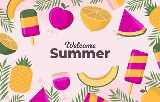 bonbons d'été avec fond rose vecteur