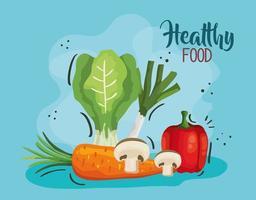 affiche de nourriture saine avec poireau et légumes vecteur