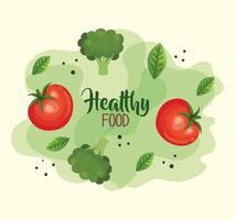 affiche de nourriture saine avec des tomates et des légumes vecteur