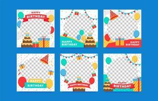 collection de cadres d'anniversaire pour photos de profil vecteur