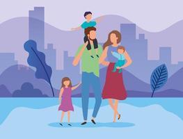 parents avec enfants dans le parc vecteur