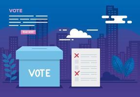affiche de vote avec urne et icônes vecteur