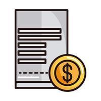 e-commerce facture d'argent achats ou paiement ligne bancaire mobile et icône de remplissage vecteur