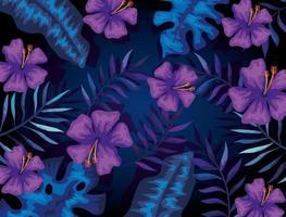 fond de fleurs violettes et de feuilles tropicales vecteur