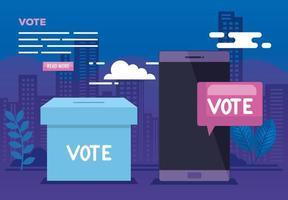 affiche de vote en ligne avec smartphone et icônes vecteur