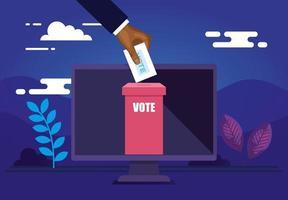 affiche de vote en ligne avec ordinateur et icônes vecteur