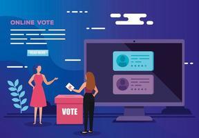 affiche de vote en ligne avec ordinateur et femmes d'affaires vecteur
