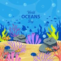 concept de la journée mondiale des océans vecteur