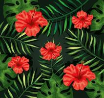 fond de fleurs rouges et de feuilles tropicales vecteur