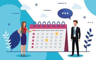 couple d'affaires avec calendrier et bulle de dialogue vecteur