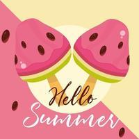 bonjour les voyages d'été et la saison des vacances crème glacée à la pastèque en bâtons lettrage bannière de texte vecteur