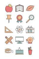 l'éducation scolaire apprendre les icônes de papeterie d'approvisionnement définir l'icône de style de ligne et de remplissage vecteur