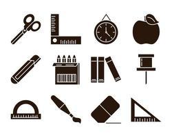 éducation scolaire apprendre approvisionnement papeterie icônes définies icône de style silhouette vecteur