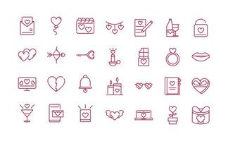 joyeuse saint valentin passion romantique amour icônes définir la conception de la ligne rouge vecteur