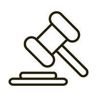 droit marteau justice affaires financières bourse icône de style de ligne vecteur