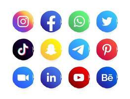 bouton du logo des médias sociaux vecteur