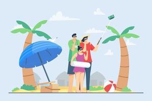 vacances d'été en famille sur l'illustration de la plage vecteur