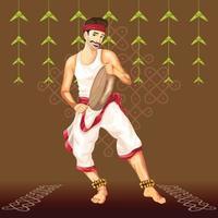 danseur folklorique tamoul avec tambour vecteur