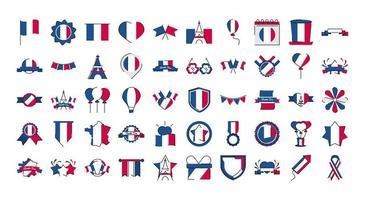 france et bastille day line et style de remplissage icon set vector design